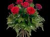 Røde roser med grønt